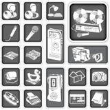 Botones del reportero fijados Fotografía de archivo