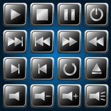 Botones del reproductor multimedia Imágenes de archivo libres de regalías