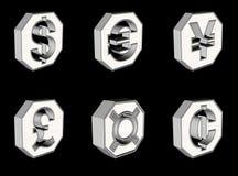 Botones del símbolo de dinero en circulación Fotografía de archivo libre de regalías