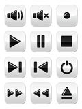Botones del sonido/de la música fijados Imágenes de archivo libres de regalías