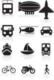 Botones del transporte - blancos y negros stock de ilustración