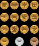 Botones del transporte - oro redondo Fotografía de archivo libre de regalías