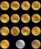 Botones del transporte - sello del oro Imagenes de archivo