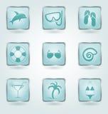 Botones del vector con los iconos de las vacaciones. Foto de archivo libre de regalías