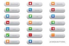 20 botones del web con el diseño gráfico plano para su mejor sitio web del negocio libre illustration