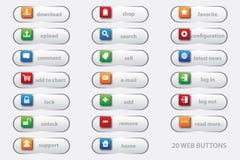 20 botones del web con el gráfico 3D para su mejor sitio web del negocio stock de ilustración