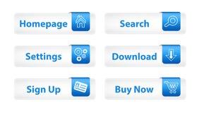 Botones del Web con las direcciones de la Internet azules Imagen de archivo libre de regalías