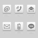 Botones del web del contacto Fotos de archivo libres de regalías