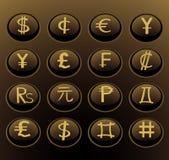 Botones del Web del dinero en circulación Fotos de archivo