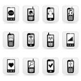 botones del Web del Smart-teléfono con las muestras en las pantallas. Fotografía de archivo