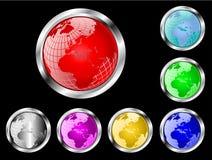 Botones del Web del vector del globo del mundo stock de ilustración