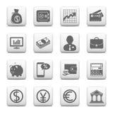 Botones del web, finanzas e iconos de las actividades bancarias Fotos de archivo
