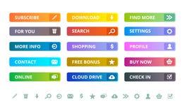 Botones del Web Iconos de Internet y elementos planos coloreados modernos del ui del vector de la plantilla de los botones libre illustration