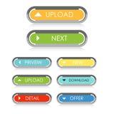 Botones del web para el sitio web o el app Fotografía de archivo