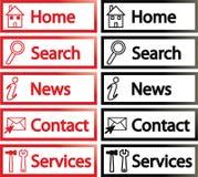 Botones del Web site Imágenes de archivo libres de regalías