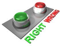 Botones derechos e incorrectos Fotografía de archivo