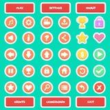 Botones determinados del icono plano del juego UI ilustración del vector