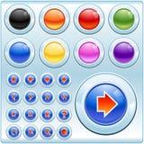 Botones e iconos brillantes imagenes de archivo