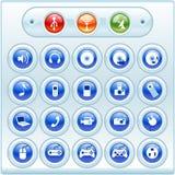 Botones e iconos brillantes imagen de archivo