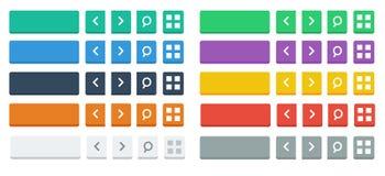 Botones e iconos planos Imagen de archivo