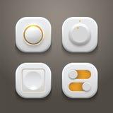 Botones e interruptores fijados con la luz realista y Fotos de archivo