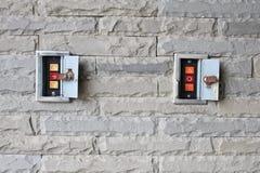 Botones electrónicos del control de puerta de para arriba, parada, abajo Foto de archivo libre de regalías