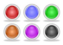Botones en blanco brillantes del web con los marcos biselados Foto de archivo