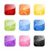 Botones en blanco brillantes en variaciones del color stock de ilustración