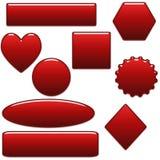 Botones en blanco rojos en negrilla y dimensiones de una variable del Web site Fotografía de archivo libre de regalías