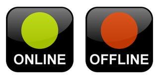 Botones en línea y off-line Foto de archivo