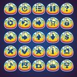 Botones enmelados determinados para el videojuego del web en mermelada del estilo Imagen de archivo