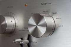 Botones estéreos del amplificador del vintage Foto de archivo