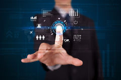Botones futuros conmovedores de la tecnología del web del hombre de negocios hermoso y Imagen de archivo