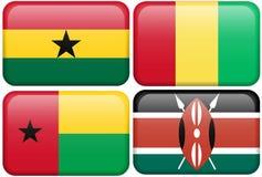 Botones: Ghana, Guinea, Guinea-Bissau, Kenia Imagenes de archivo
