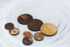 Botones hechos de los cocos Imagen de archivo libre de regalías