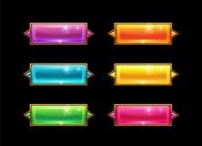 Botones horizontales cristalinos largos coloridos determinados con la frontera de oro ilustración del vector