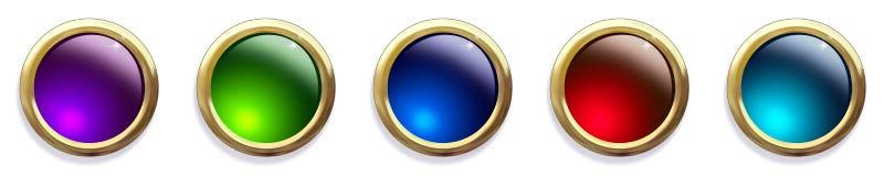 Botones Jeweled brillantes del Web Imagenes de archivo