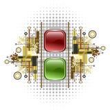 Botones ligeros de la señal, rojos y verdes stock de ilustración