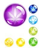 Botones médicos de la marijuana fotos de archivo
