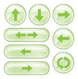 Botones manchados verde de la flecha stock de ilustración