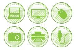 Botones manchados verde del dispositivo stock de ilustración