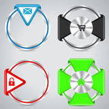 Botones metálicos del anillo con diversos símbolos Foto de archivo libre de regalías