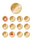 botones metálicos del reproductor multimedia 3d Imagen de archivo libre de regalías