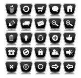 Botones metálicos del Web de la casilla negra Fotos de archivo