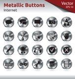 Botones metálicos - Internet Foto de archivo libre de regalías