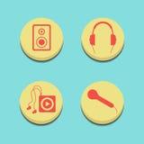 Botones musicales en fondo azul Imagenes de archivo