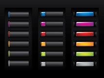 Botones negros brillantes Imagenes de archivo