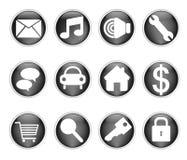 Botones negros brillantes imágenes de archivo libres de regalías
