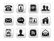 Botones negros del contacto fijados - móvil, teléfono, correo electrónico Imagenes de archivo