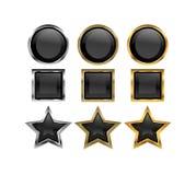 Botones negros metálicos Imagenes de archivo